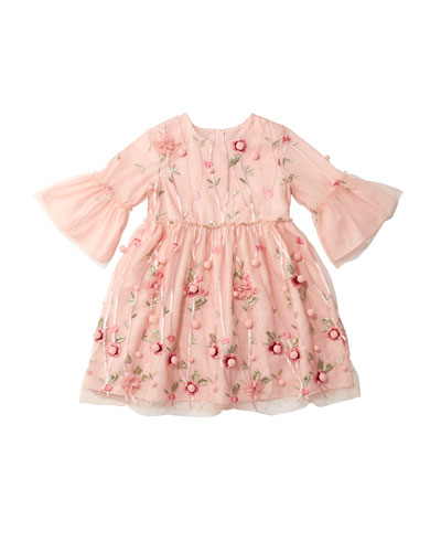 3D Flower Pompom Embroidered Dress, Size 4-8  and Matching Items