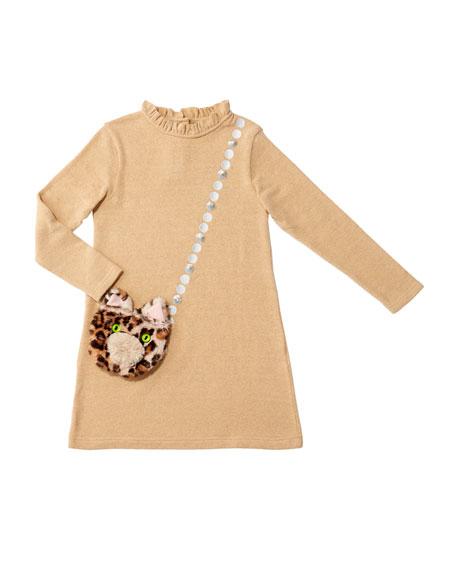 Charabia Girl's Mimi Long-Sleeve Dress w/ Attached Faux Fur Crossbody Bag, Size 4-8
