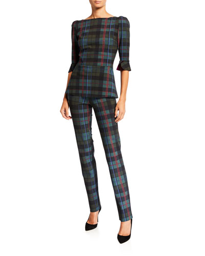 Edelmira Plaid High-Neck 1/2-Sleeve Top and Matching Items