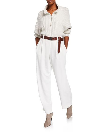 Brunello Cucinelli Cashmere Sparkle Zip-Front Sweater