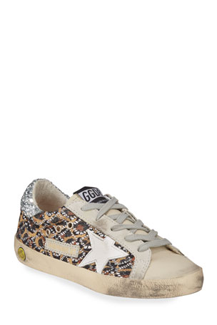 Golden Goose Superstar Leopard Embellished Sneakers, Baby/Toddler Superstar Leopard Embellished Sneakers, Toddler/Kids