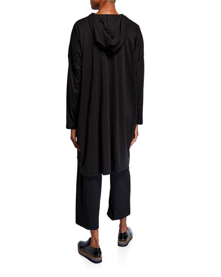 Eskandar Smaller Front Longer Back Hooded Zipped Top
