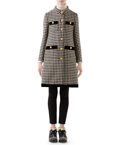 Houndstooth Coat with Velvet Trim and Matching Items