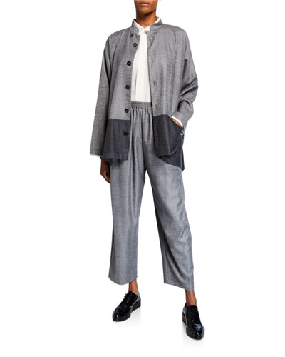 Wool-Silk Mandarin Jacket and Matching Items
