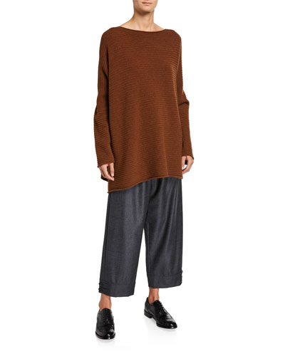 Cashmere Slim-Sleeve Caftan Sweater and Matching Items