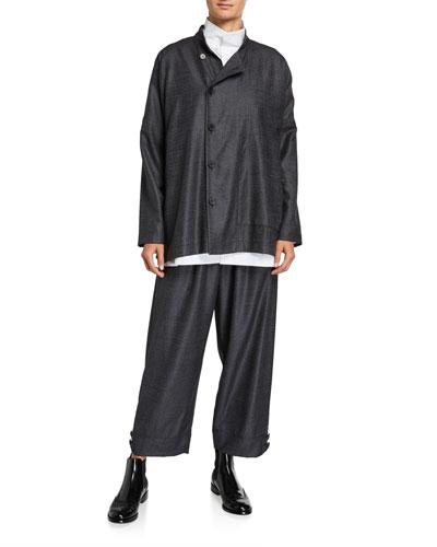 Wool-Silk Side-Button Mandarin Jacket and Matching Items