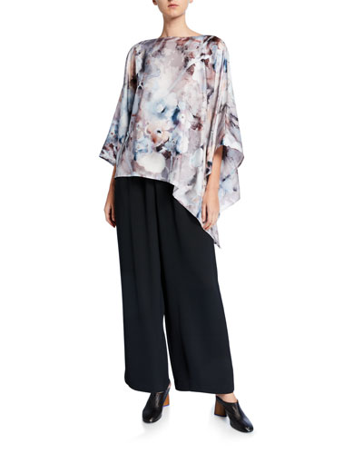 Floral-Print Silk Scoop-Neck Caftan and Matching Items