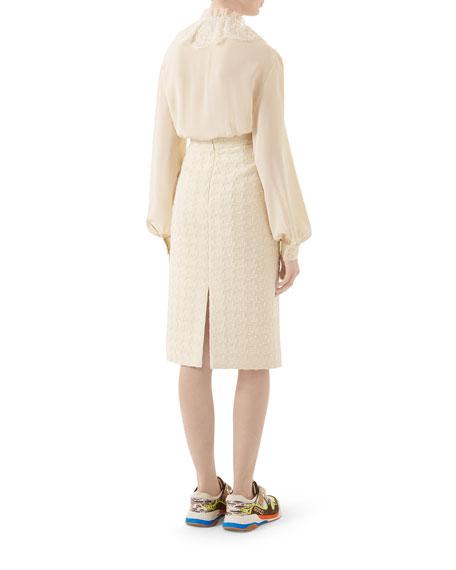 Gucci Silk Crepe de Chine Lace-Placket Blouse