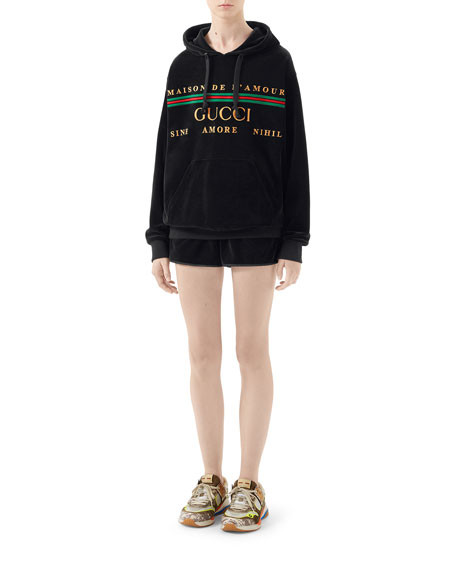 Gucci Chenille Logo Embroidered Oversized Hoodie