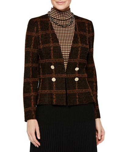 Plaid Double-Button Tweed Jacket and Matching Items