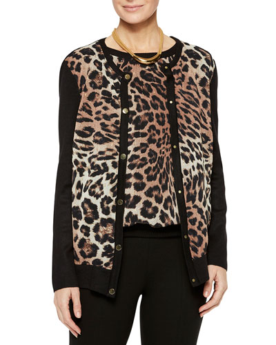 Leopard Georgette & Knit Button-Front Cardigan and Matching Items