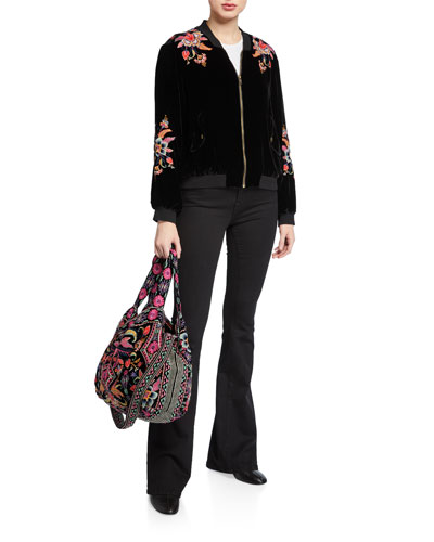 Ioana Velvet Bomber Jacket with Embroidery and Matching Items