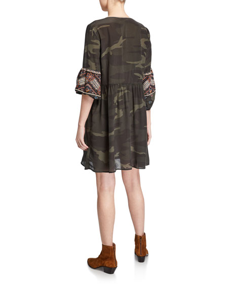 Johnny Was Molly Jo Paris Silk Camo Dress with Embroidery