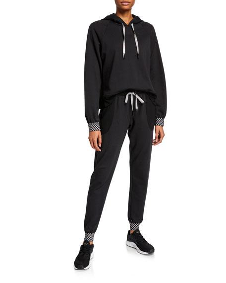 Terez Checkerboard Cuff Raglan-Sleeve Hoodie Sweatshirt