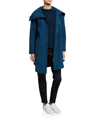 High-Collar Zip-Front Organic Cotton/Nylon Coat and Matching Items