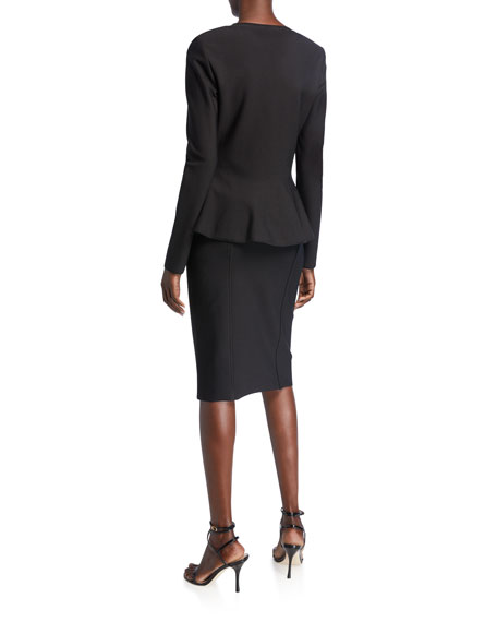 St. John Collection Zip-Front Sculpted Milano Knit Fit-&-Flare Peplum Jacket