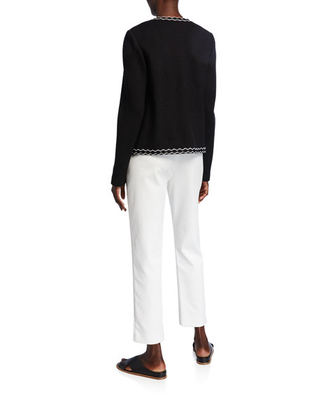 St. John Collection Pebbled Textured Knit Jacket with Decorative Trim