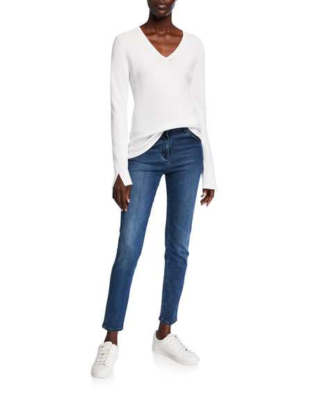 St. John Collection Links Textured V-Neck Sweater w/ Sleeve Slits