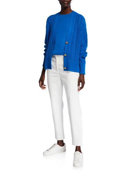 St. John Collection Refined Cashmere/Silk Crewneck Sweater