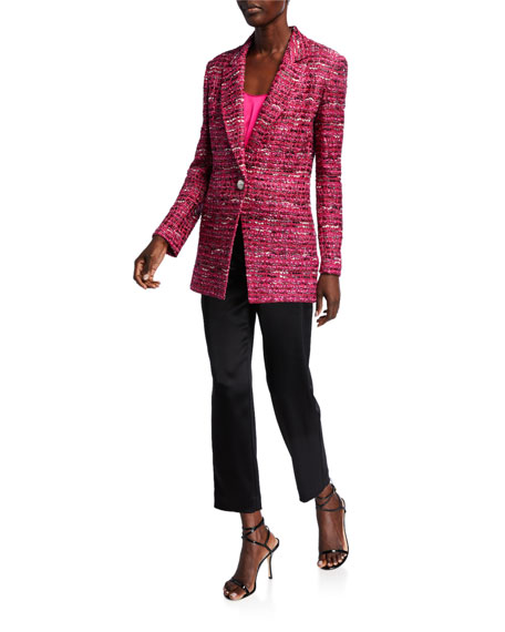 St. John Collection Opulent Textured Tweed Knit Jacket w/ Notch-Collar