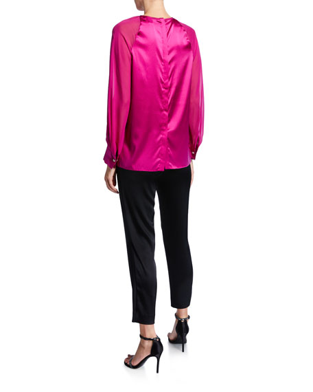 St. John Collection Stretch Silk Charmeuse Blouse with Silk Georgette Sleeves