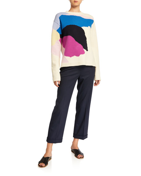 St. John Collection Abstract Floral Intarsia Knit Sweater