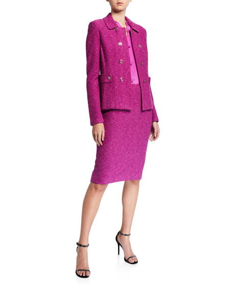 St. John Collection Belle Du Jour Double Breasted Jacket with Martingale Belt