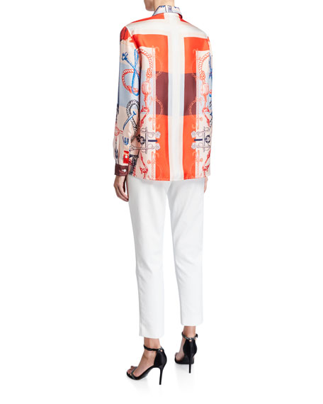 St. John Collection Mariner Scarf-Print Silk Twill Blouse