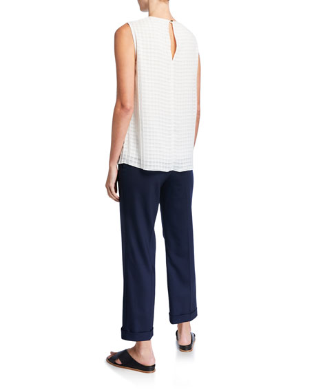 St. John Collection Plisse Striped Georgette Shell