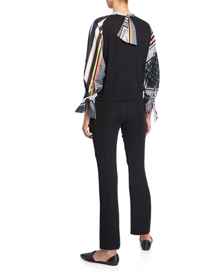 ADEAM Mixed-Material Printed Bow-Cuff Sweater