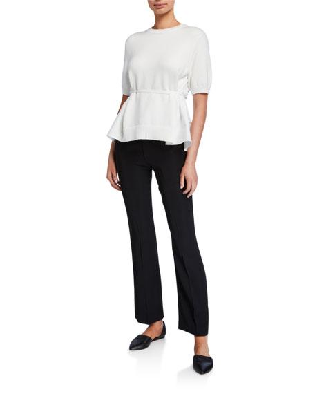 ADEAM Scarf-Back Short-Sleeve Sweater