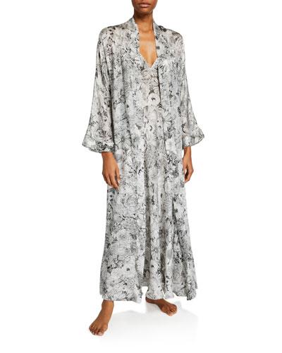 Arabella Floral-Print Long Robe and Matching Items