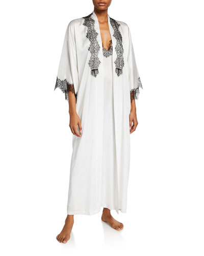 Arabella Lace-Trim Silk Robe and Matching Items