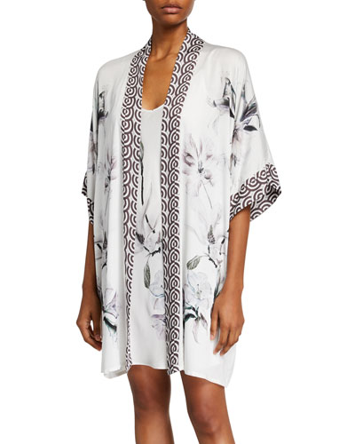Serenity Floral-Print Short Robe and Matching Items