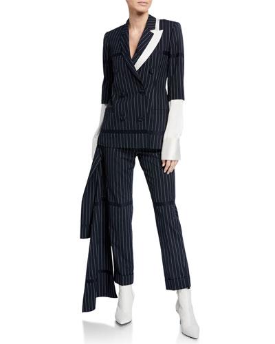 Santos Asymmetric Pinstriped Blazer Jacket and Matching Items
