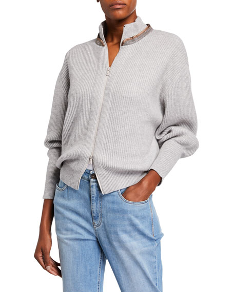 Brunello Cucinelli Cashmere English-Ribbed Zip-Front Cardigan