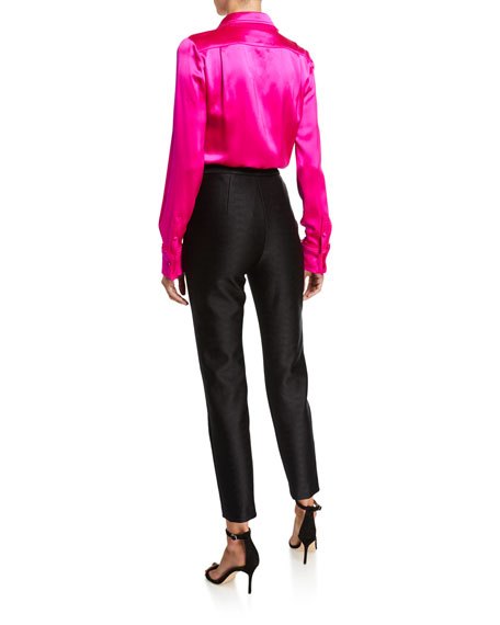 Brandon Maxwell Silk Frayed Button-Front Shirt