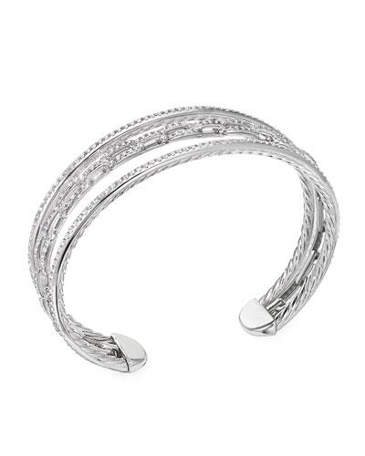 Stax 18k White Gold Diamond 3-Row Bracelet  Size M and Matching Items