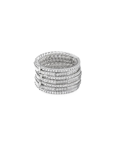 Stax 18k White Gold Diamond Multi-Row Ring  Size 6 and Matching Items