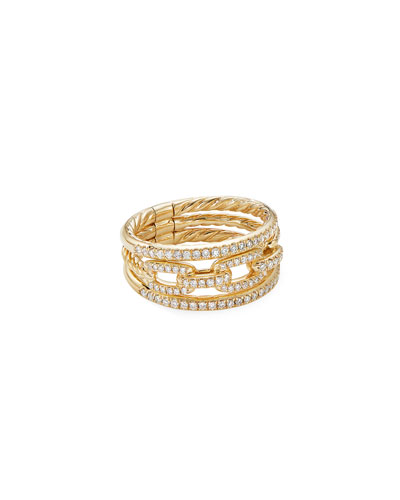 Stax 18k Yellow Gold Diamond 3-Row Ring  Size 7 and Matching Items