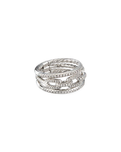 Stax 18k White Gold Diamond 3-Row Ring  Size 7 and Matching Items
