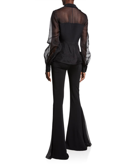 CUSHNIE Sheer Silk Button-Front Blouse