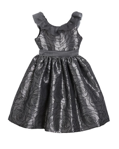 Girl's Floral Jacquard Dress w/ Ruffle Organza Collar  Size 12M-3 and Matching Items