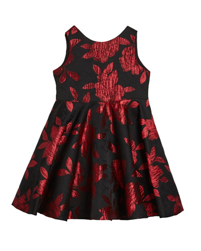 Girl's Rose Jacquard Sleeveless Twirl Dress  Size 12M-3 and Matching Items