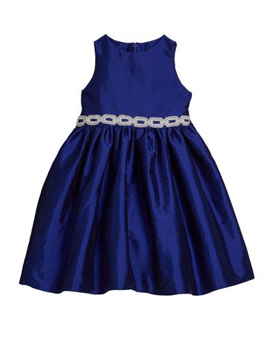Girl's Matte Sateen Dress w/ Beaded Waist Trim  Size 12M-3 and Matching Items