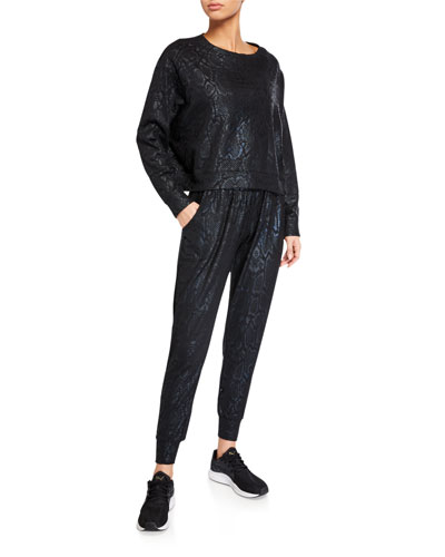 Snake-Print Foil Cropped Crewneck Sweatshirt and Matching Items