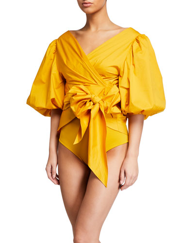 Resplandor Tardio Puff-Sleeve Coverup Top and Matching Items