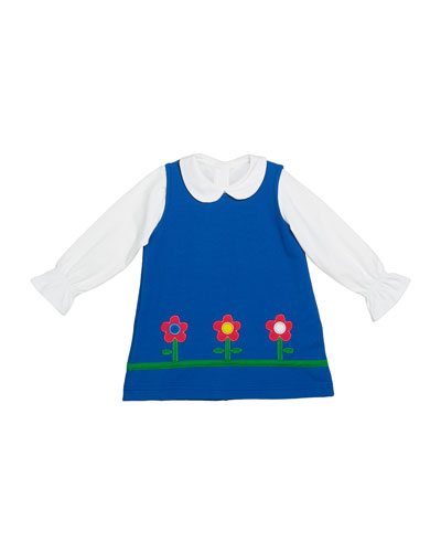 Girl's French Terry Flower Jumper w/ Long-Sleeve Knit Blouse, Size 12-24 Months and Matching Items
