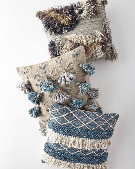 """Blue Tassels Pillow, 22""""Sq."""