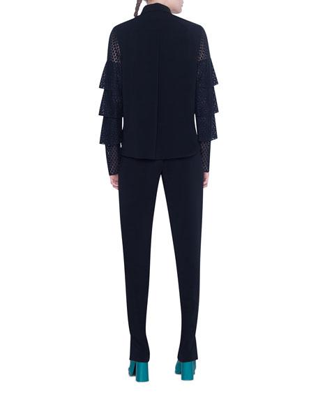 Akris punto Laser-cut Lace-Sleeve Button-Front Shirt